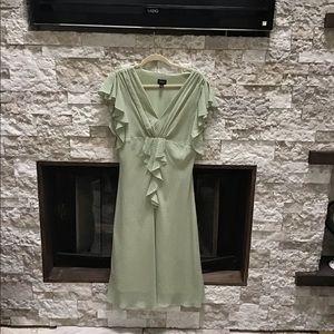 Sage green polka dot dress ruffled midi 1940 look